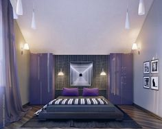 Artistic bedroom with amazing violet decor