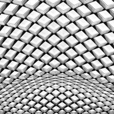 archinbetween:Flowing Diagrid  Â SunsetSamCourtyard ceiling of the National Portrait Gallery in Washington, D.C. #geometry #cubes