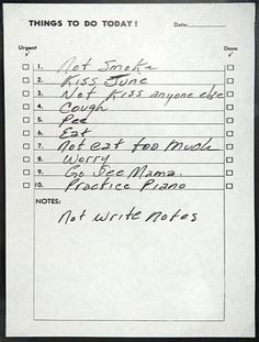 Things To Do Today!This is Johnny Cash's to do list. #handwriting #notes