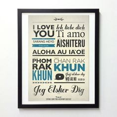I Love You Typography Poster In Different Language #print #design #neuegraphic #etsy #poster #typography