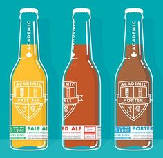 Academic Brewery Bottles #packaging #beer #illustration