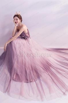 eDressit Spaghetti V-Cut Purple Shiny tulle Evening Ball Dress (36225606)