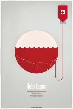 Help Japan on the Behance Network #relief #earthquake #brunelle #maxime #help #maximebrunelle #com #poster #redcross #japan #tsunami