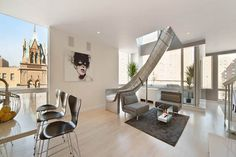 Spiral slide New York penthouse by LEVEL Architects (1) #slide