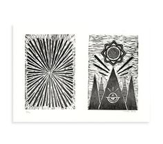 Image of Sunburst #woodcut #abstract #white #printmaking #print #diptych #graphic #black #landscape #and