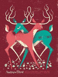 Andrew Bird Deer Fight Poster Illustration by Doe Eyed