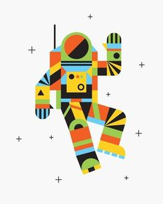 Hello Spaceman Art Print by Brad woodard | Society6 #astronaut #space #illustration #cubism #spaceman