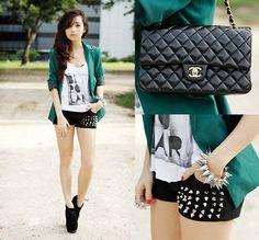 Chanel Bag, Wagw Blazer, Wagw Shorts, Ffaq Shoes #fashion #women #clothing