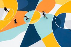 gue turns a #basketball court in #italy into a labyrinth of #lines and colors