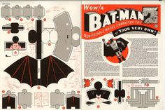 Acme Novelty Gallery: Batman Paper model #batman #diagrams #chris ware #instructions #papercraft