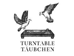Turntabletäubchen logo & poster on Behance #turntable #biro #wings #partylabel #pigeons #birds #illustration #music #logo #drawing