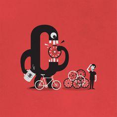 Illustration - I Ciclopi - Comb Studio #wheels #red #bicycle #illustration #bike #monster #combstudio