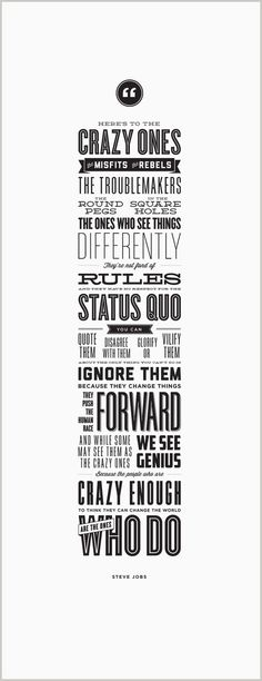 Here's to the Crazy Ones – Letterpress Poster – Steve Jobs #lettering #quote #design #graphic #poster #typography