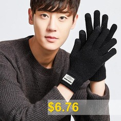 Men's #Knitting #Yarn #Outdoor #Driving #Thick #Warm #Plus #Velvet #Students #Touch #Screen #Gloves #- #BLACK