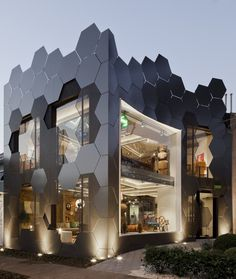 The Uncanny Honeycomb Inspired Estar Móveis Store in Brazil #architecture
