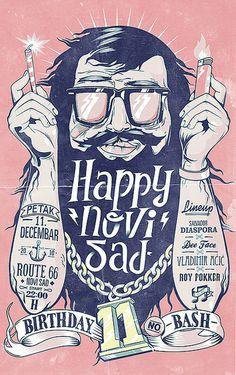 happynovisad Birthday Bash #bash #illustration #birthday #poster #typography