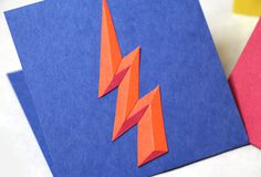lightning bolt greeting card by Joelle McKenna #joelle mckenna #cut #lightning bolt #color #paper #layered paper #texture #bright #photo #ph