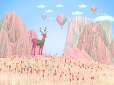 Robinsson Cravents, Nature Dreamy #deer #sky #illustration #nature #flowers
