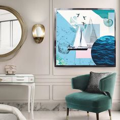 luxury interior, collages, home decor painting, seaview, yacht resort, armchair, pastel colours, blue, colibri
