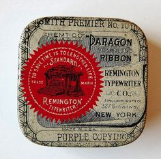 Vintage Packaging: Typewriter Tins - TheDieline.com - Package Design Blog #ribbon #typewriter #typography