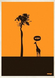 Eshark Design » Blog Archive » Supercool WTF? Series by Minga #poster #giraffe #art #tree