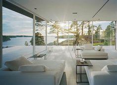 Дом в Стокгольме #interior #sun #sunrays #design #architecture #lake #sunset #view