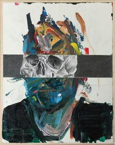 Untitled (Split 1) #art #illustration #painting #acrylic #graphite #skull