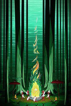 Summer Celebration by Noel DelMar #nymphs #illustration #nature #forest #summer #kids #society6 #fantasy