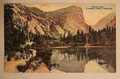 Vintage Mirror Lake, Yosemite Valley, California. Colored Postcard. #vintage #postcard #yosemite #california