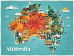 DISCOVER AUSTRALIA - Jimmy Gleeson Design #mapping #geometric #illustration #building #animal