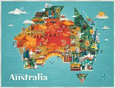 DISCOVER AUSTRALIA - Jimmy Gleeson Design #mapping #geometric #illustration #building #animal