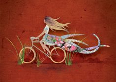 Jennifer Hillhouse #red #bicycle #girl #montage #photo #illustration #collage