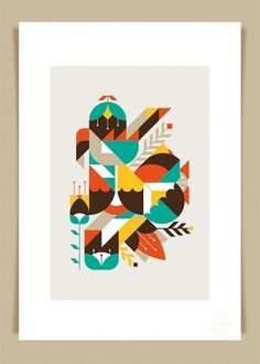 Flowers & Geometrics art print « LouLou & Tummie #illustration #color #leaf