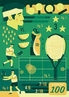 Tennis Owen Davey #tennis #illustration #davey #character #owen