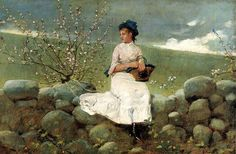 Artist Winslow Homer with his painting \\