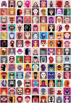 Collage of people portraits #woman #collection #multiple #people #portrait #man #face #collage #avatar