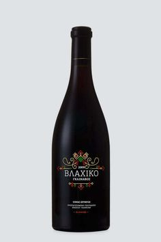 """Vlahiko"" wine is the combination of two Greek grape varieties, Vlahiko and Bekari, one more label belonging to the Premium class of "" #greek #premium #packaging #label #ornaments #wine #glinavos #traditional #gold #domaine #dark #silkprint #typography"