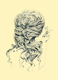Lady with Cigarette by Anastasija Krysa #cigarette #design #hair #illustration #art #drawing
