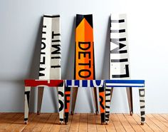Urban Furniture Design Recycled Road Signs Boris Bally Transit Chairs