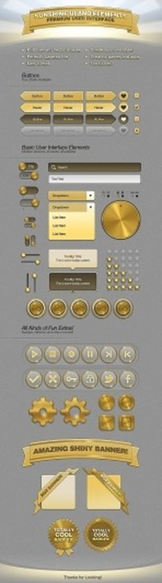 SunshineUI Premium User Interface #buttons #user interface #switches #freebie #web elements