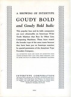 Intertype Goudy Bold type specimen #type #specimen #typography