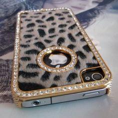 Luxury Designer Bling Crystal Leopard Cheetah Fur Hard Case Cover