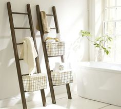 Lucas Reclaimed Wood Bath Ladder Storage | Pottery Barn #interior #storage #ladder