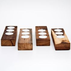 tea light candle holder by less #wood