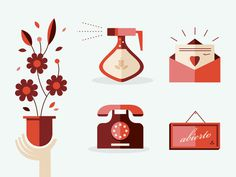 Flower shop items #water #icon #sign #illustration #envelope #flower #telephone #flowers #sprayer