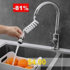 Faucet #Retractable #Water #Saving #Extender #Hose #360-degree #Adjustable #Nozzle #- #SILVER