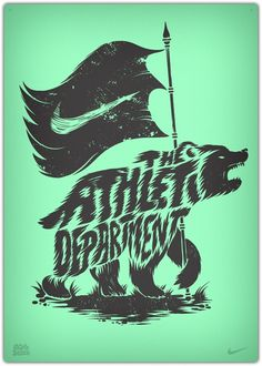 Illustrations for Nike on the Behance Network #swoosh #flag #nike #type #bear #green
