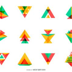Bright triangle logo set