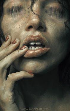 """Eaten"" Illustration by Sam Spratt The product... | #illustration #lips #mouth #painting"