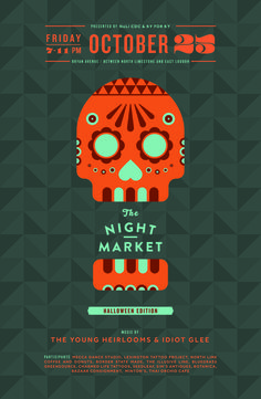 NightMarket_October #poster #event #publicity #design #halloween #dia de los muertos #night market #night #pattern